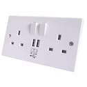 Connekt Gear 27-2000 UK Power/USB Charging Plate with 2 way UK Socket Faceplate White