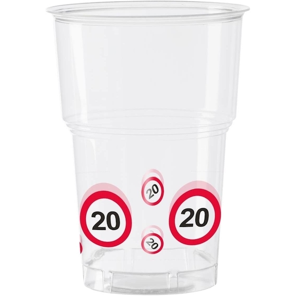 20th Birthday Traffic Sign Plastic Cups (Pack Of 10)