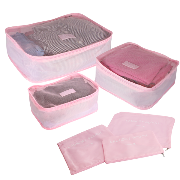 Suitcase Luggage Packing Cubes | Pukkr Pink - Image 1