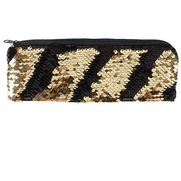 Black and Gold Reversible Sequin Pencil Case Pack Of 12