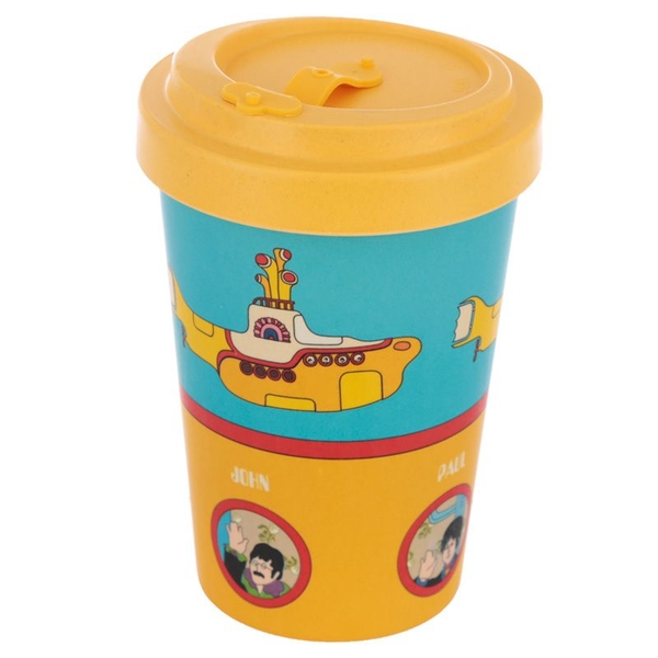 Yellow Submarine Screw Top Bamboo Composite Travel Mug