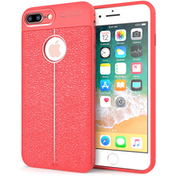 iPhone 8 Plus  Auto Camera Focus Leather Effect Gel Case - Red