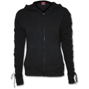 Gothic Rock Laceup Full Zip Glitter Women's Small Hoodie - Black