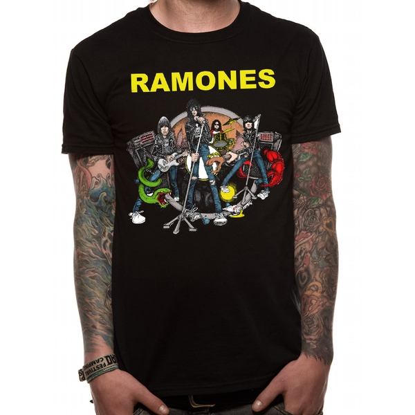The Ramones - Illo Men's Large T-Shirt - Black