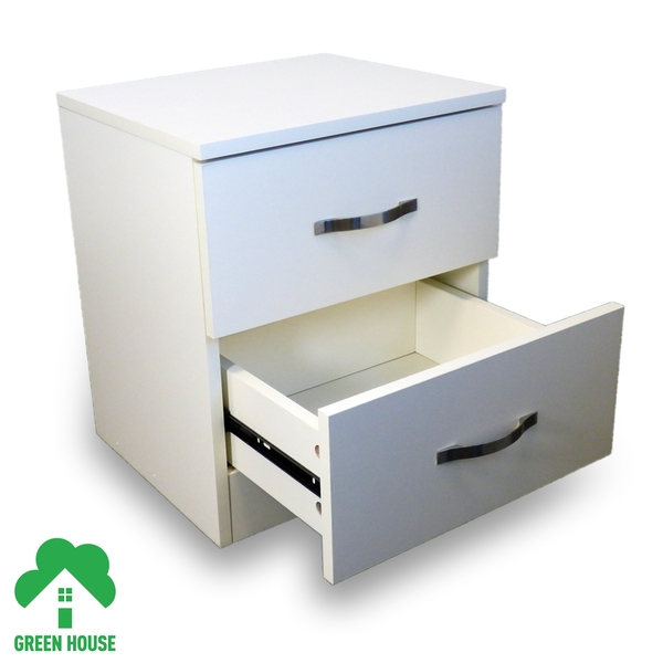 2 Chest Of Drawers White Bedside Cabinet Dressing Table Bedroom Furniture Wooden Green House - Image 2