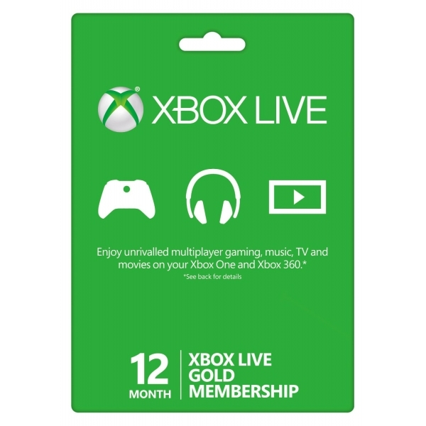 Xbox LIVE Gold 12 Months Membership Card Xbox One