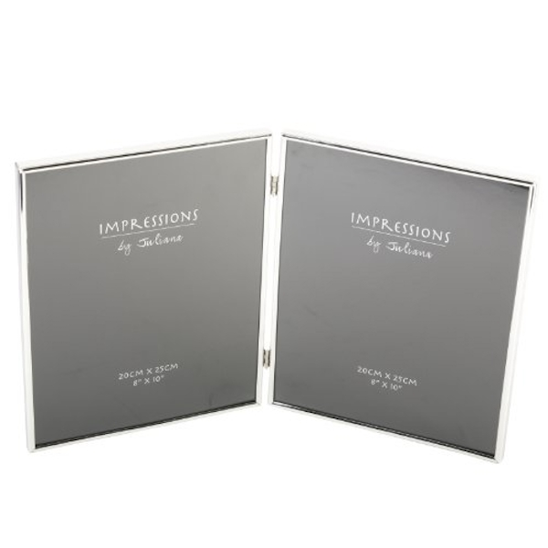 "8"" x 10"" - Impressions Silverplated Thin Double Photo Frame"