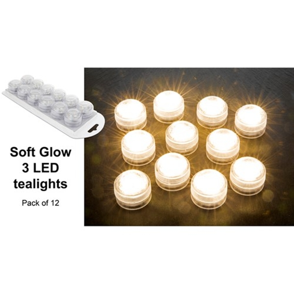 Soft Glow 3 LED Tealight Pack of 12