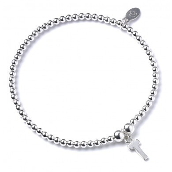 Initial T Charm with Sterling Silver Ball Bead Bracelet