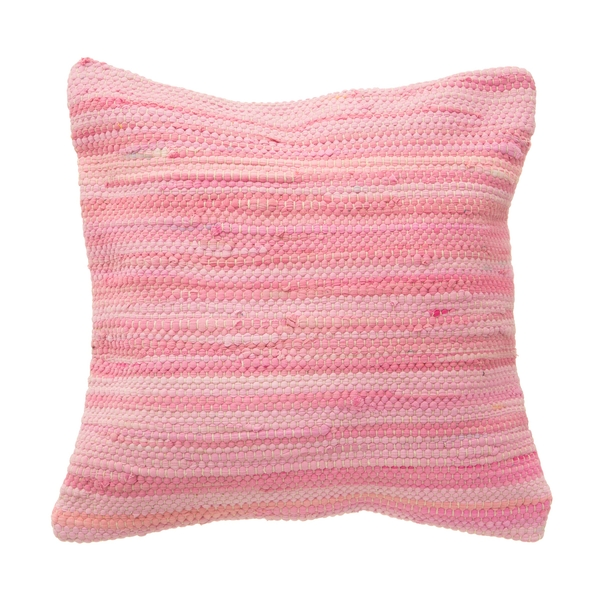 Sass & Belle Pink Chindi Rag Cushion