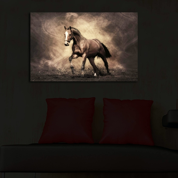 4570?ACT-40 Wild Horse Led Lighted Canvas Painting