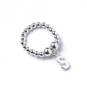 Initial S Charm with Sterling Silver Ball Bead Ring