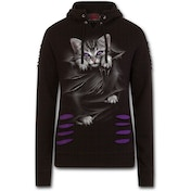 Bright Eyes Women's Large Ripped Hoodie - Purple/Black