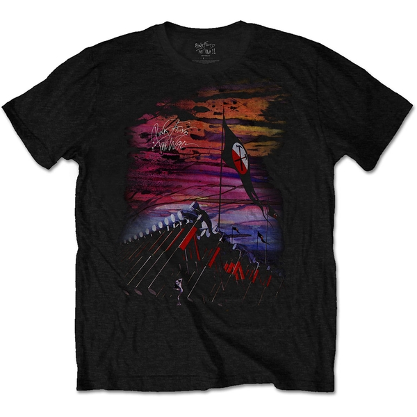 Pink Floyd - The Wall Flag & Hammers Unisex Medium T-Shirt - Black