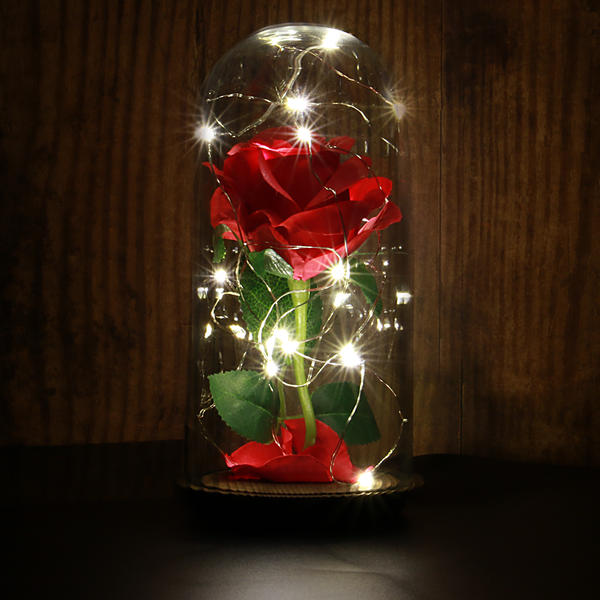 Enchanted Light Up Beauty And The Beast Rose Jar Mw With Rose New