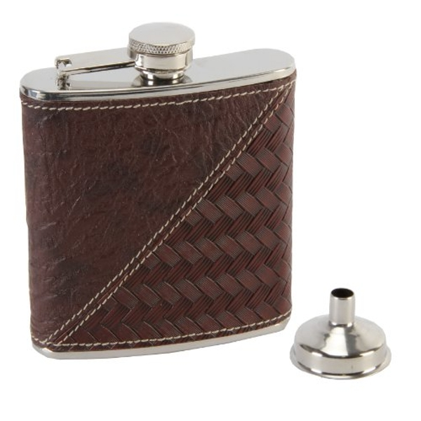 Harvey Makin Brown Hip Flask with Funnel