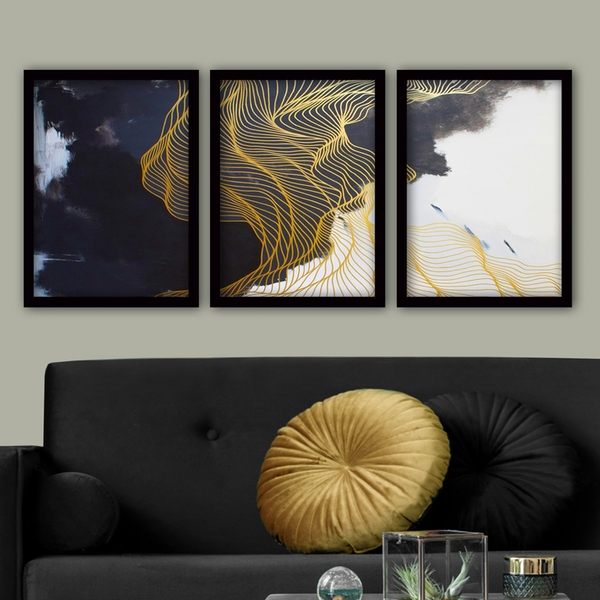 3SC186 Multicolor Decorative Framed Painting (3 Pieces)