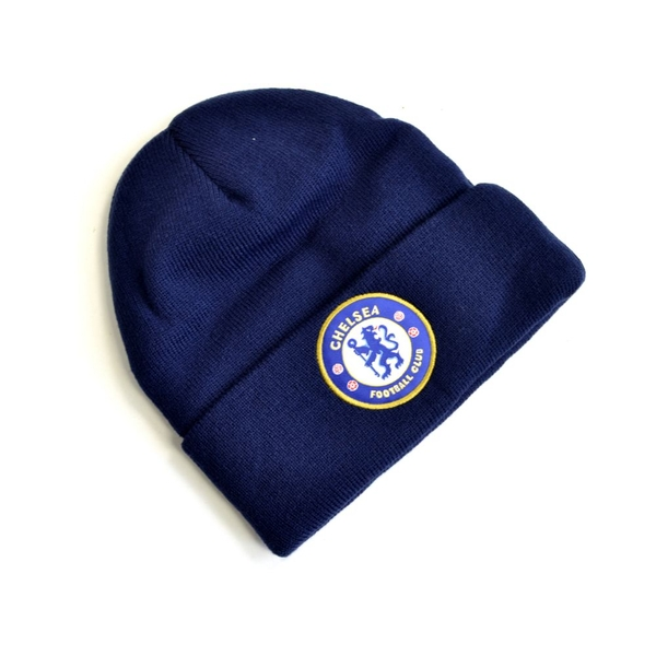 Chelsea Knitted Crest Turn Up Hat Navy Blue