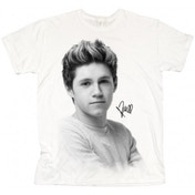 One Direction Niall Solo B&W Ladies White T Shirt: X Large