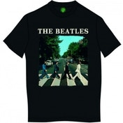 The Beatles Abbey Road & Logo Mens Black T Shirt: Medium