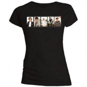 One Direction Photo Split Skinny Black T-Shirt Small