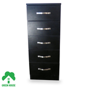 Wooden Chest of Drawers, Bedside Cabinet Bedroom Furniture Green House 5 Drawer Narrow Chest Black