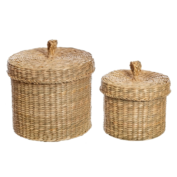 Sass & Belle (Set of 2) Seagrass Baskets with Lid