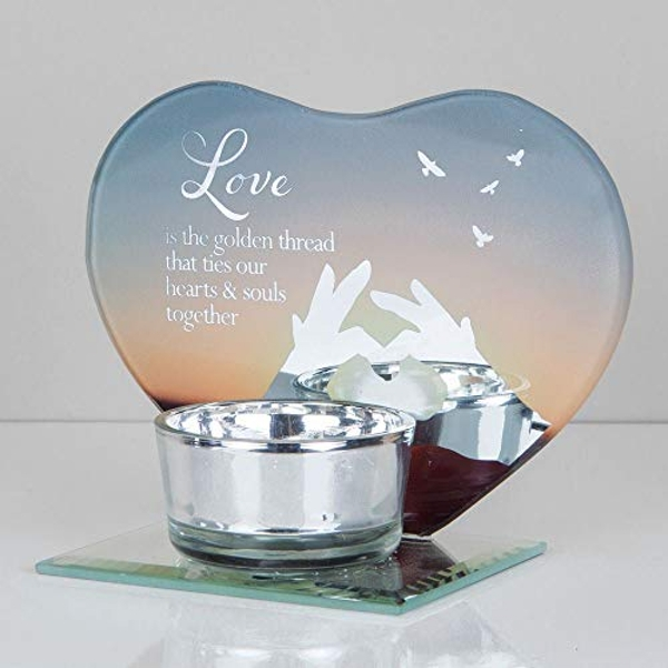 Heart Shape Glass Tealight Holder - Love