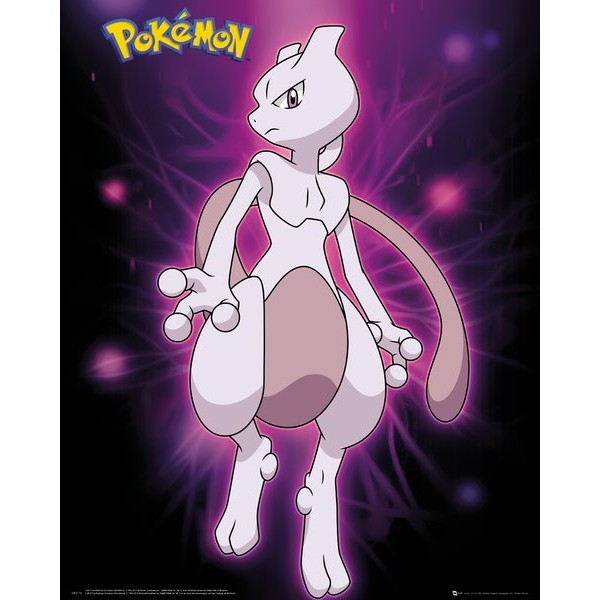 Pokemon Mewtwo Neon Mini Poster