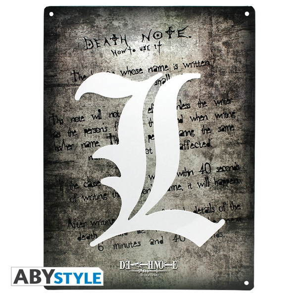 Death Note - L Symbol (28 x 38cm) With Hook Metal Plate