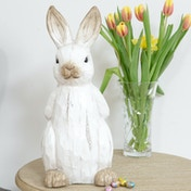 Country Living Carved Wood Effect Garden Ornament - Rabbit