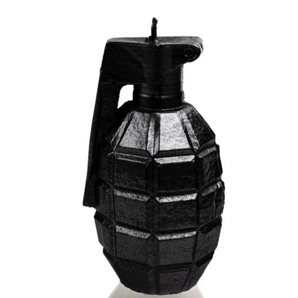 Black Metallic Small Grenade Candle
