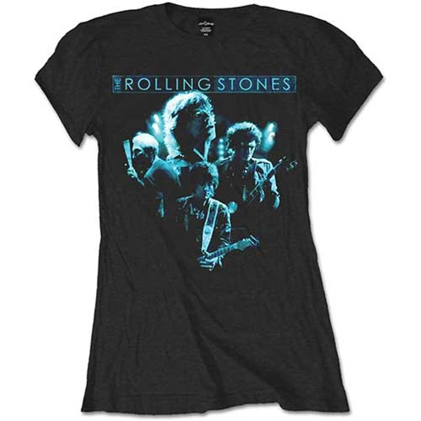The Rolling Stones - Band Glow Ladies XX-Large T-Shirt - Black