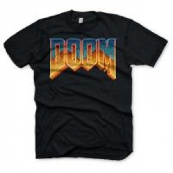 DOOM Men's Classic Game Logo T-Shirt, Medium, Black