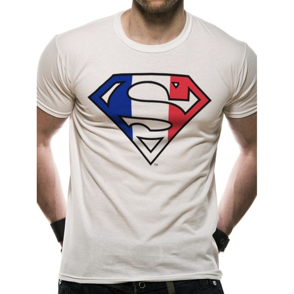 Superman - France Flag Men's Small T-Shirt - White