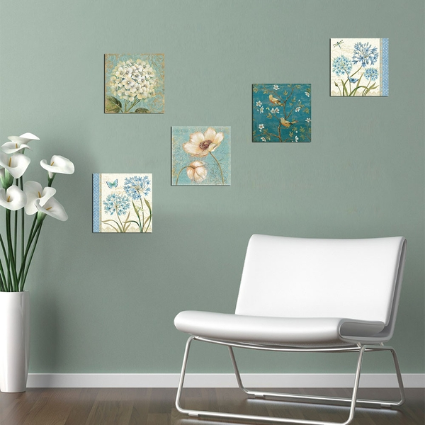 UTB094 Blue Green White Decorative MDF Painting (5 Pieces)