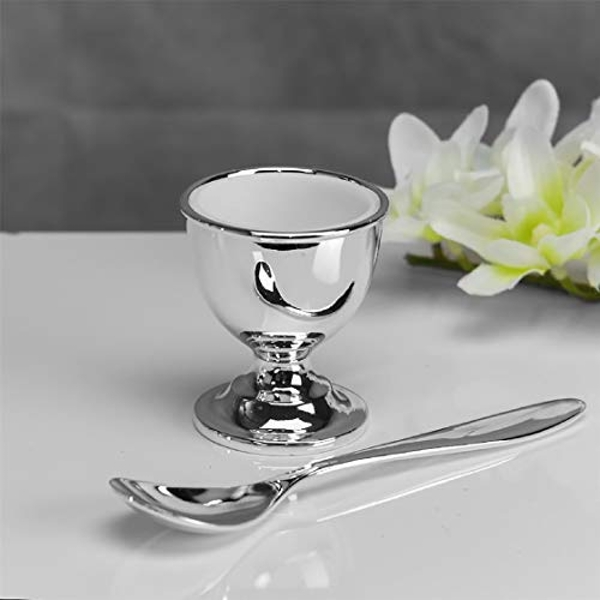 Bambino Baby Silver Plated Egg Cup and Spoon Set