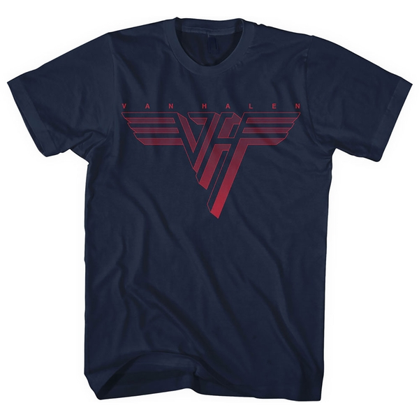 Van Halen - Classic Red Logo Men's Large T-Shirt - Navy Blue