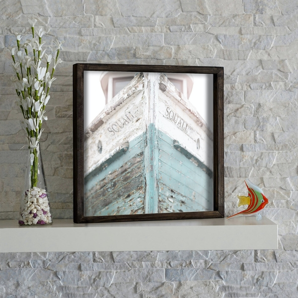KZM239 Brown White Mint Grey Decorative Framed MDF Painting
