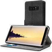 Samsung Galaxy Note 8 PU Leather Slim Wallet Stand Case - Black