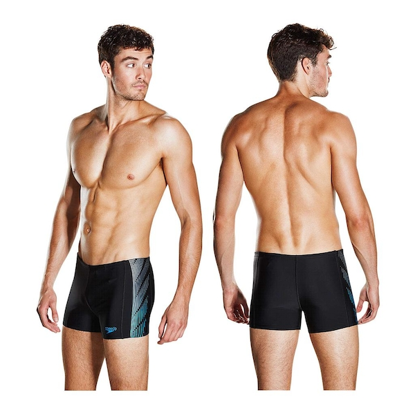 Speedo Placement Panel Aquashort Black/Grey/Blue 30""
