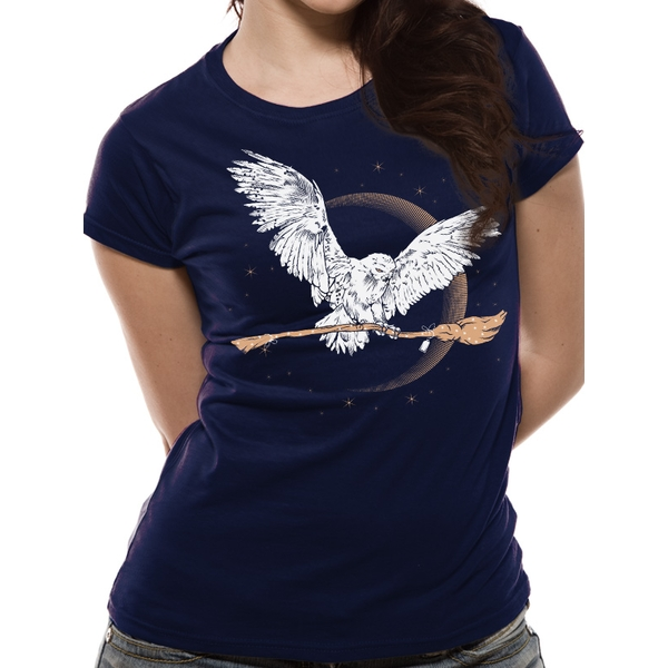 Harry Potter - Hedwig Broom Women's X-Large Short Sleeve T-Shirt - Blue