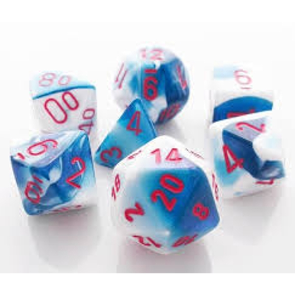 Chessex Gemini Poly 7 Dice Set: Astral Blue-White/Red