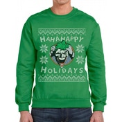 Batman - Ha Ha Happy Holidays Men's X-Large Xmas Jumper - Green