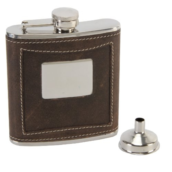 Harvey Makin Brown Leather Hip Flask with Engraving Plate