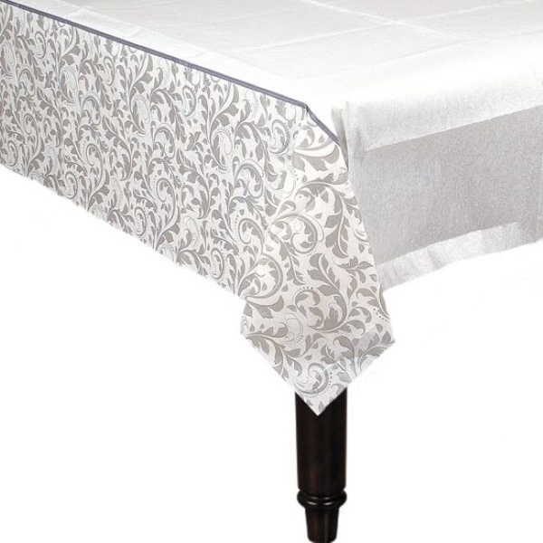 Table Cover Silver Anniversary Elegant Scroll