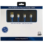 MP Tech PS5 High Speed 4 Metre Play & Charge Cable Twin Pack (PS5)