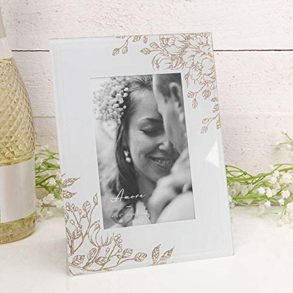 """4"""" x 6"""" - AMORE BY JULIANA? Grey Glass Gold Floral Frame"""