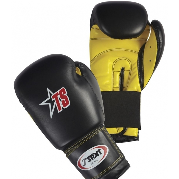 T-Sport PU Boxing Gloves Black/Yellow 16oz