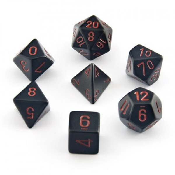 Chessex Opaque Poly 7 Dice Set: Black/Red